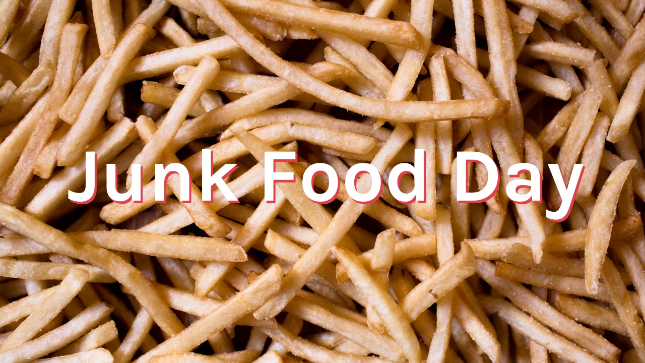 Close up of french fries with text overlay junk food day.