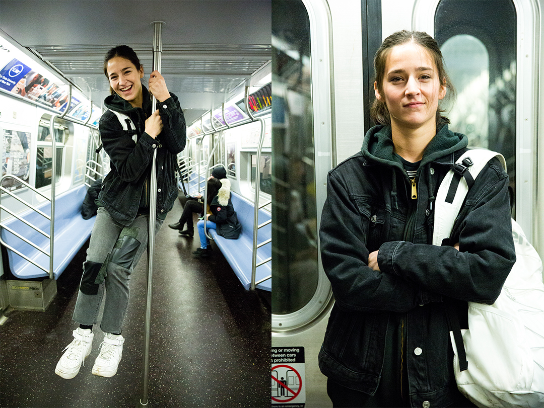 Cassie Lavo riding the subway.