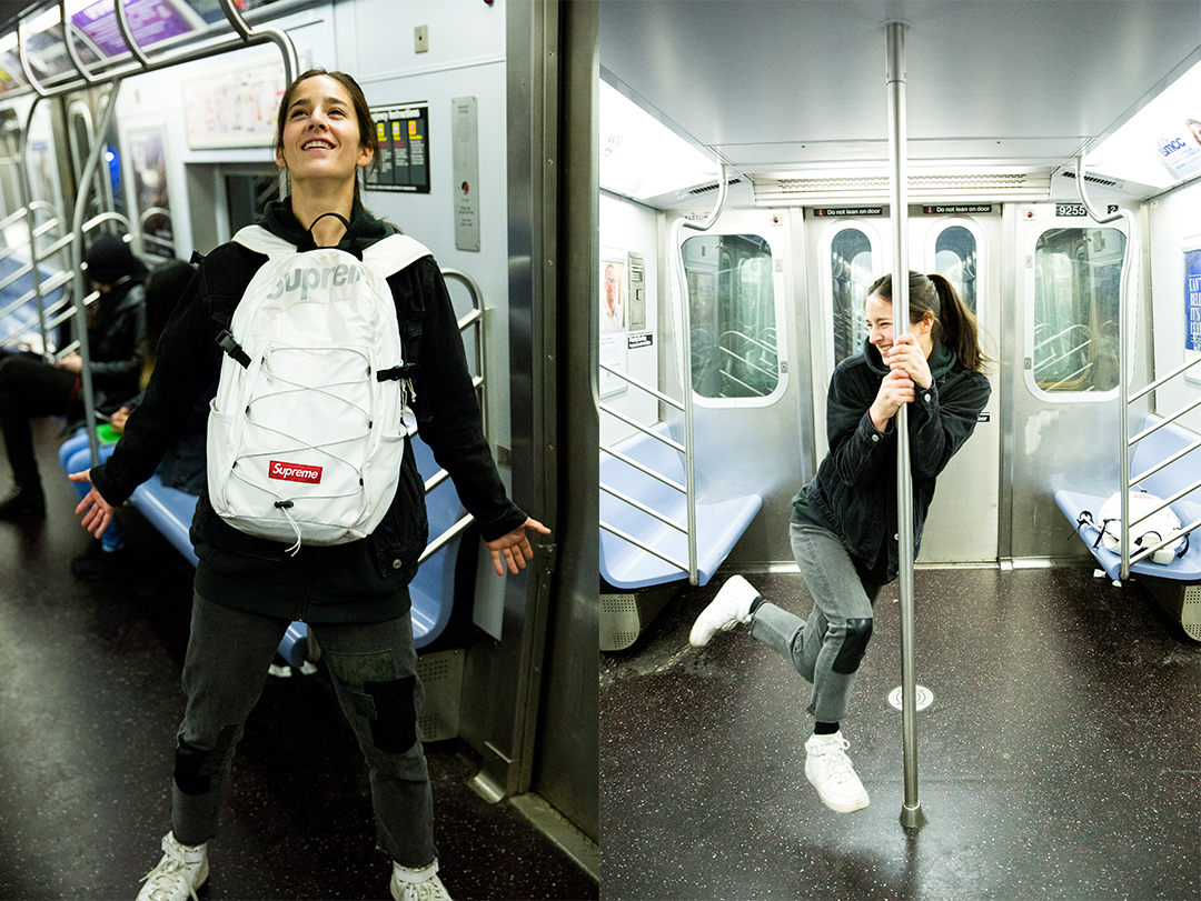 Cassie Lavo having fun on the subway.