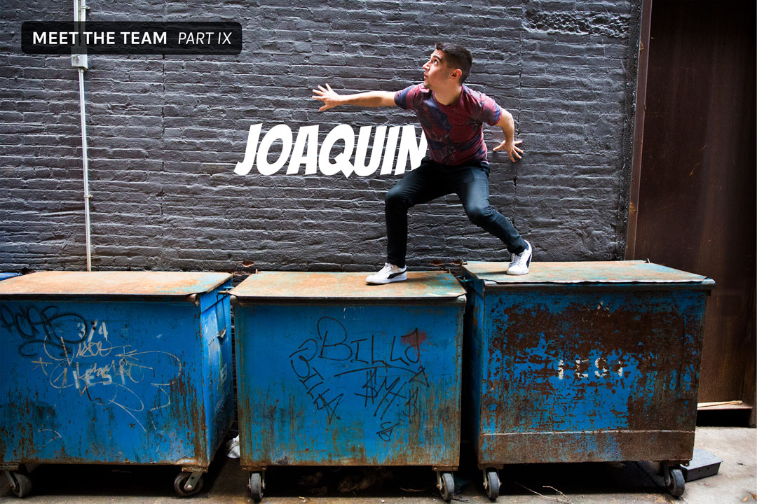 Joaquin standing on a garbage can in NYC
