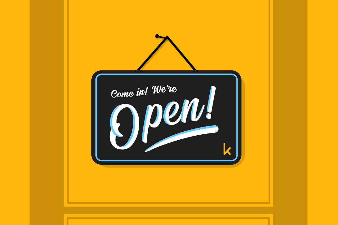 come in we're open sign yellow background